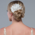 Clara flower bridal headpiece, crystal pearl  wedding hair comb